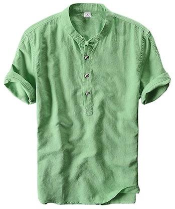 utcoco Men's Retro Chinese Style Short Sleeve Linen Henley Shirts