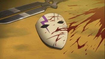 Hei'spierrot-inspired mask conceals his face when he's out on missions.