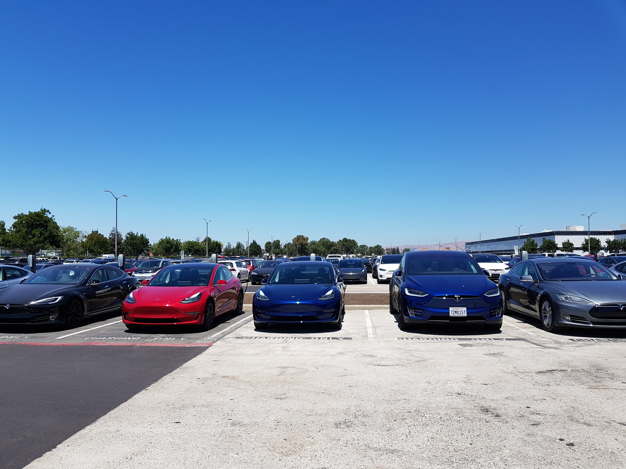 Tesla cars lined up outside the factory.