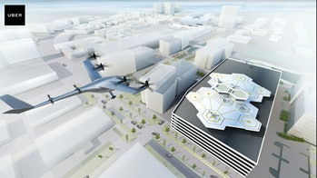 "Concept art of an UberAir ""vertiport"" in the Dallas Fort Worth area."