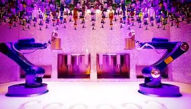 robot bar drink cocktail tipsy bartender