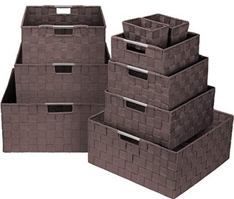 Sorbus Storage Box Woven Basket Bin Container Tote Cube Organizer Set