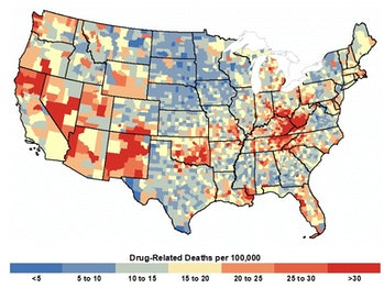 Map showing drug related deaths per 100,000 people