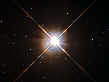 Shining brightly in this Hubble image is our closest stellar neighbour: Proxima Centauri.