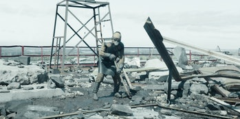 """A """"biorobot""""-- a man in protective gear -- on the roof of theChernobyl Nuclear Power Station, as depicted in the HBO series."""