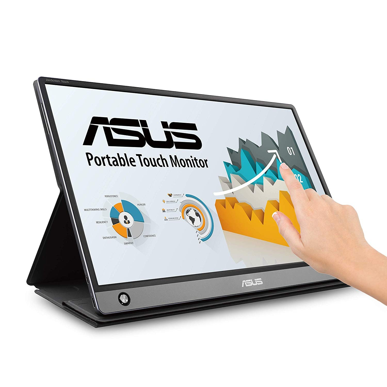 """ASUS ZenScreen MB16AMT 15.6"""" Full HD Portable Monitor Touch Screen IPS Non-Glare Built-in Battery and Speakers Eye Care USB Type-C Micro HDMI w/Foldable Smart Case"""