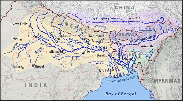 This is a map of the Ganges (yellow), Brahmaputra (violet), and Meghna (green) drainage basins.
