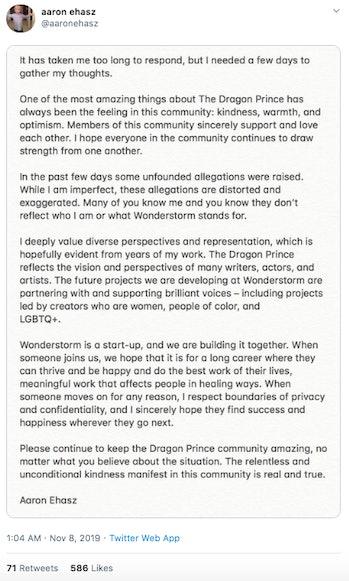 Aaron Ehasz's full statement.