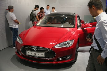 The Tesla Model S on display in Germany.