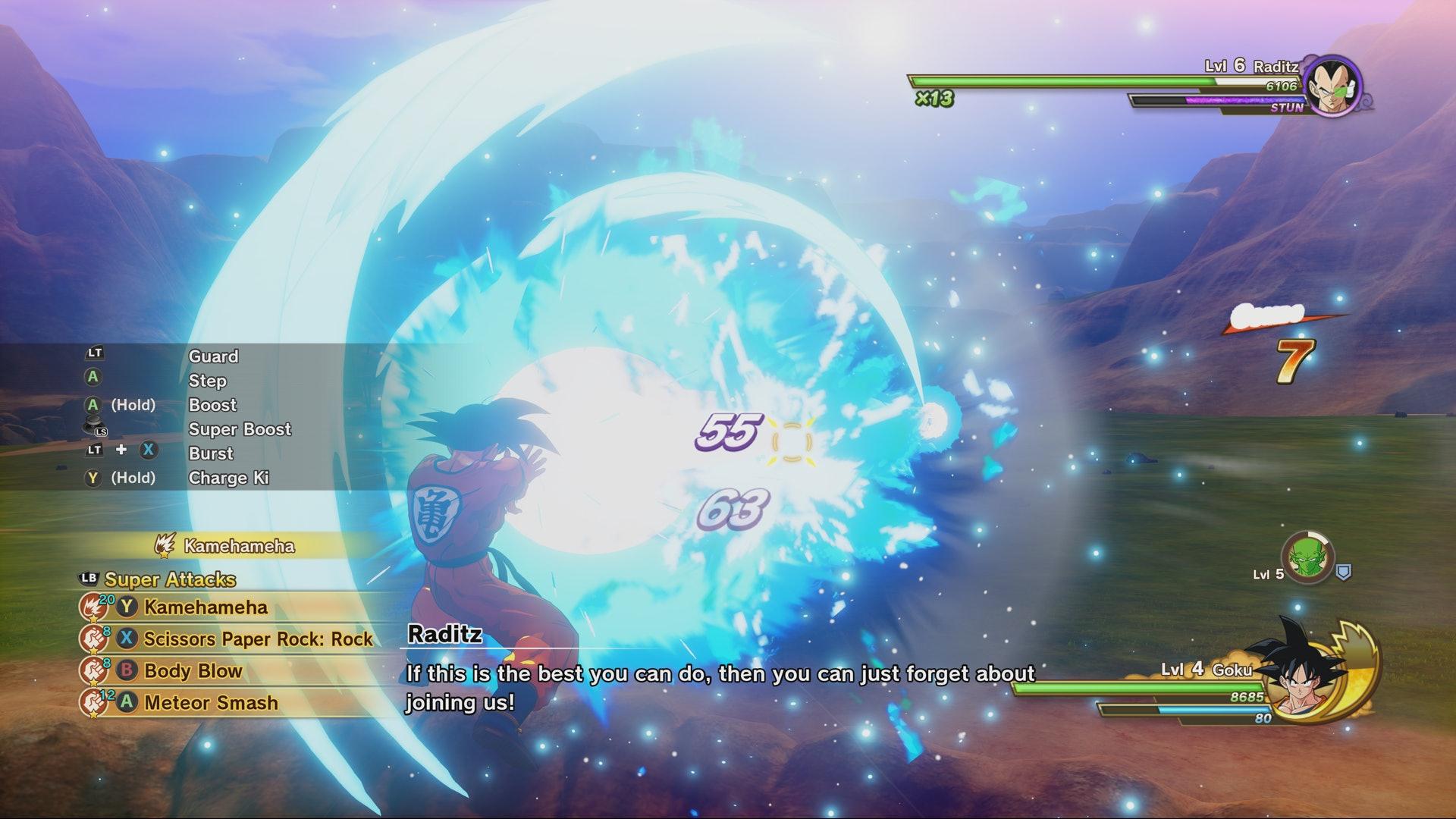 Goku Uses Kamehameha Against Raditz in Dragon Ball Kakarot