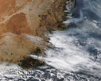 A NASA Worldview satellite image shows smoke over New South Wales on December 6, 2019.