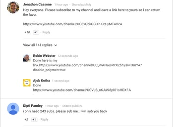 YouTube, Statement, Comments