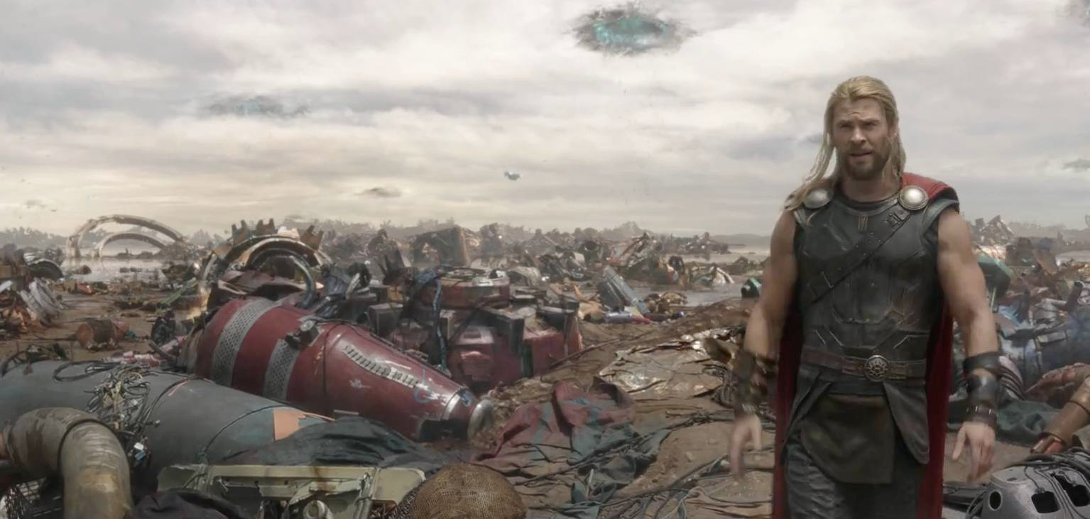 Thor gets blasted to the planet of Sakaar.