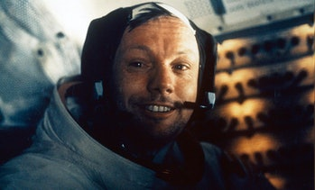 Neil Armstrong inside the lunar module, Eagle.