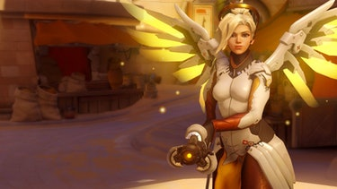Mercy can fly around the battlefield healing allies and boosting their damage output.