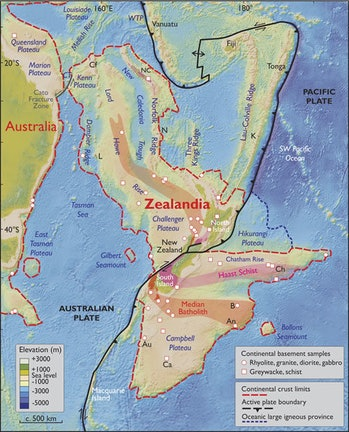 A map including Zealandia.