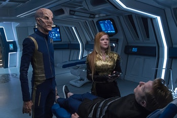 """Saru and Tilly with Stamets in the upcoming episode of 'Discovery,"""" """"The Wolf Inside."""""""