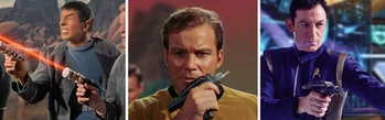 LEFT TO RIGHT: Lasers in 'The Cage,' Kirk with a phaser in the original series, Lorca with a 'Discovery' phaser.