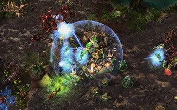 Pictured above, AlphaStar holding its own in a round of *Starcraft II*.