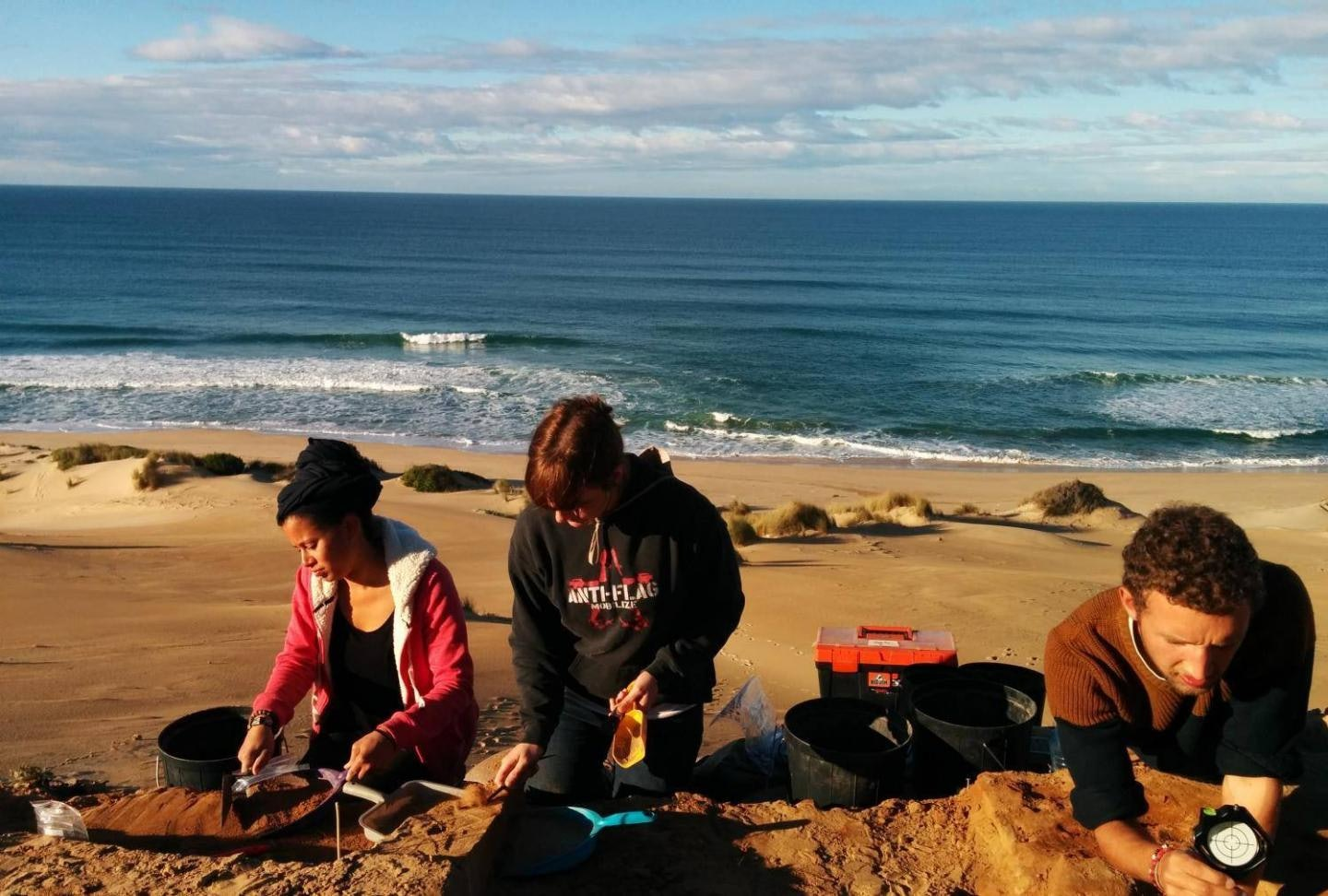 Students excavating one of the dig sites in South Africa.