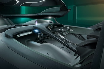The car's interior.