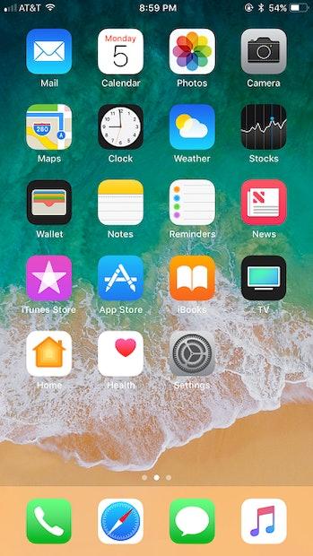 iOS 11 home screen.