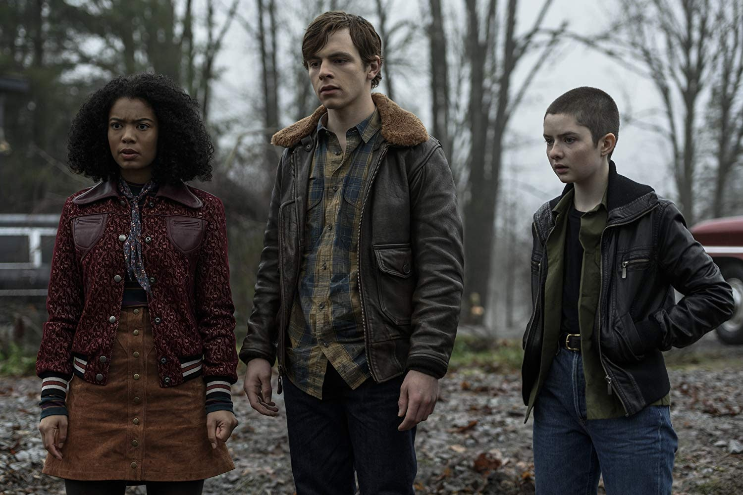 Jaz Sinclair, Ross Lynch, and Lachlan Watson in Netflix's 'Chilling Adventures of Sabrina' season 2