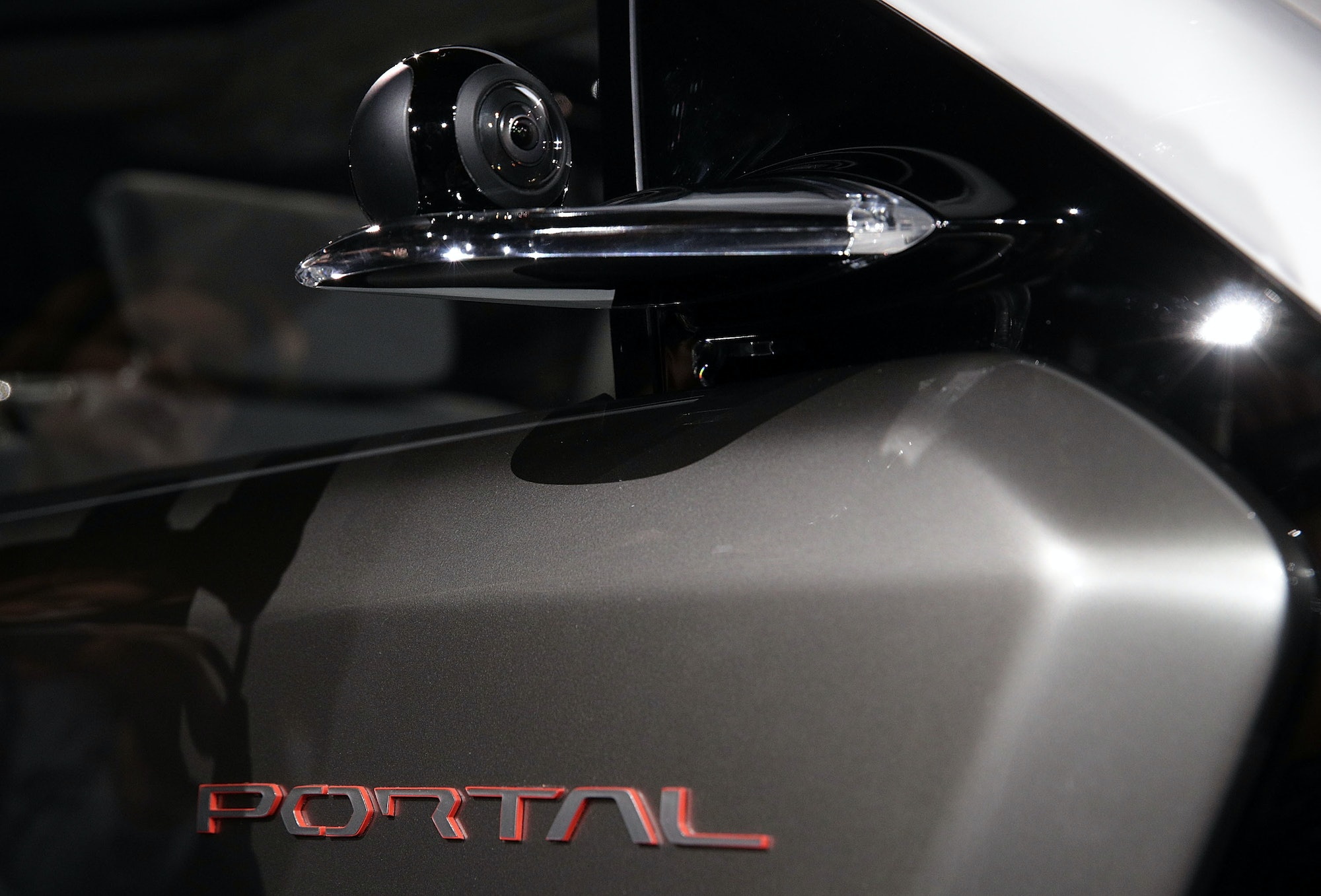 The side mirror is replaced with a camera on the Chrysler Portal electric concept minivan at CES 2017.