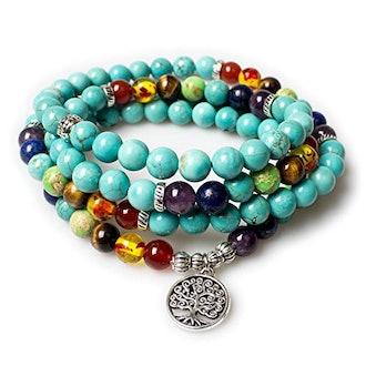 Turquoise Healing 108 Buddhist Prayer Mala Beads