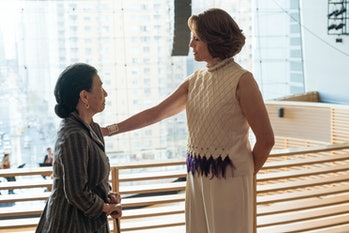 Alexandra meets with Madame Gao in front of the New York Philharmonic.