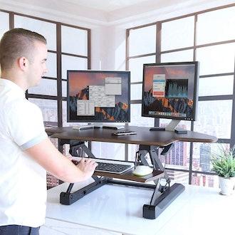 Seville Classis Airlift Gas Spring Corner Cubicle Adjustable Standing Desk Workstation