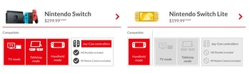 nintendo switch lite comparison