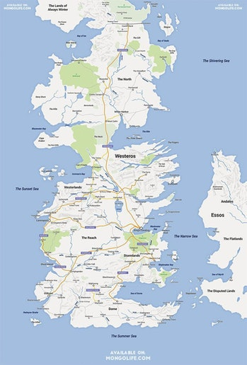 Google Map Westeros geography Game of Thrones