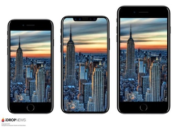 The iPhone 8 in the middle, compared to Apple's current iPhones.