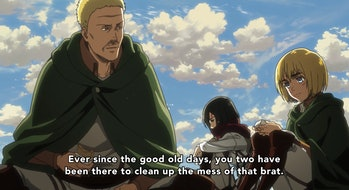 Hannes gives Mikasa and Armin a much-needed pep talk.
