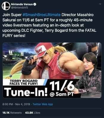 smash bros. ultimate 6.0 update announcement terry bogard