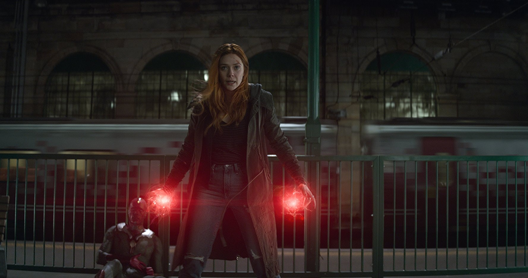 Wanda (Olsen) prepares to fight Proxima Midnight (Carrie Coon) in 'Avengers: Endgame.'