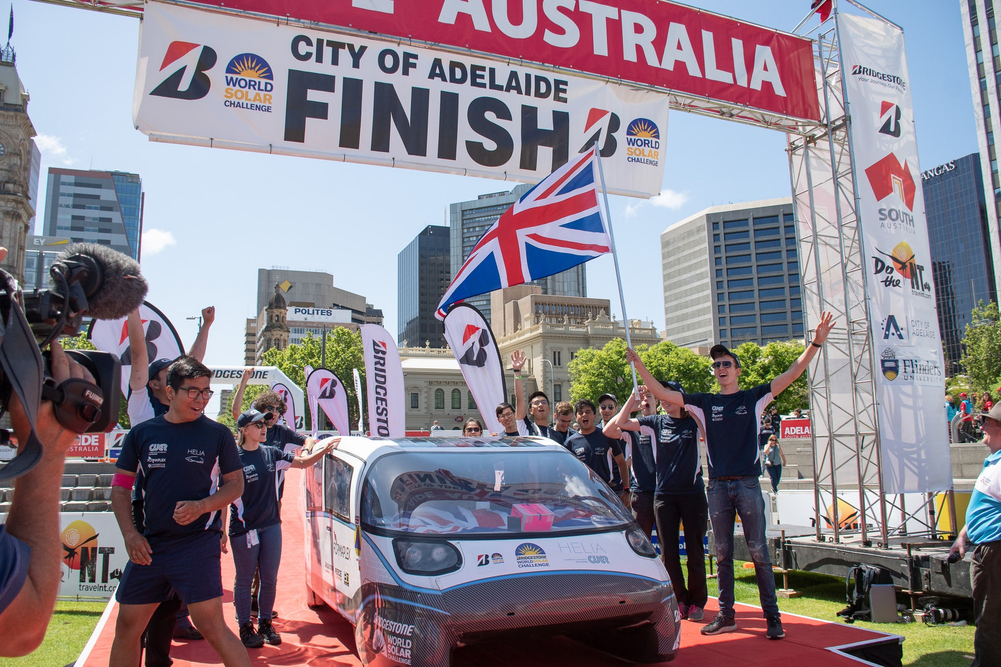 Helia at the Australia finish line.