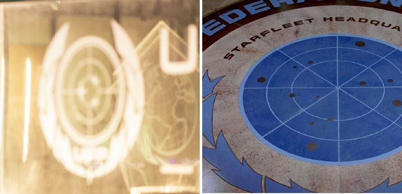 LEFT: The Federation seal in the 'Discovery' finale. RIGHT: The Federation seal in 'Star Trek: The Motion Picture' (1979)