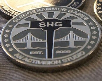 The official challenge coin of Sledgehammer Games honors a military tradition.