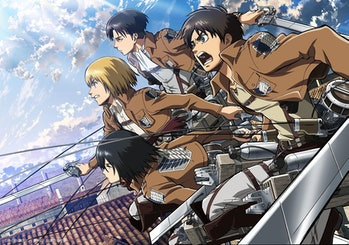 In 'Attack on Titan,' human soldiers usevertical maneuvering equipment to swing around and attack Titans.