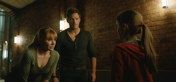 Claire and Owen team up with Maisie in the third act of 'Jurassic Park: Fallen Kingdom'.