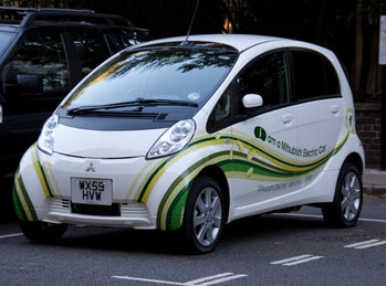 An electric car parked up.