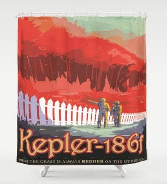 Kepler-186 : NASA Retro Solar System Travel Posters Shower Curtain