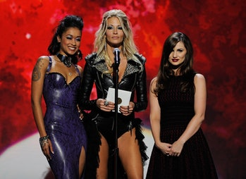 LAS VEGAS, NV - JANUARY 21: (L-R) Adult film actresses Skin Diamond,jessicadrake and Lily Carter present an award during the 29th annual Adult Video News Awards Show at The Joint inside the Hard Rock Hotel & Casino January 21,2012in Las Vegas, Nevada. (Photo by Ethan Miller/Getty Images)
