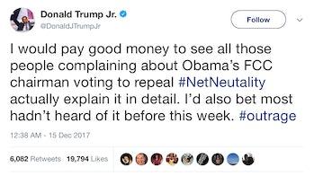 Trump Jr's tweet.
