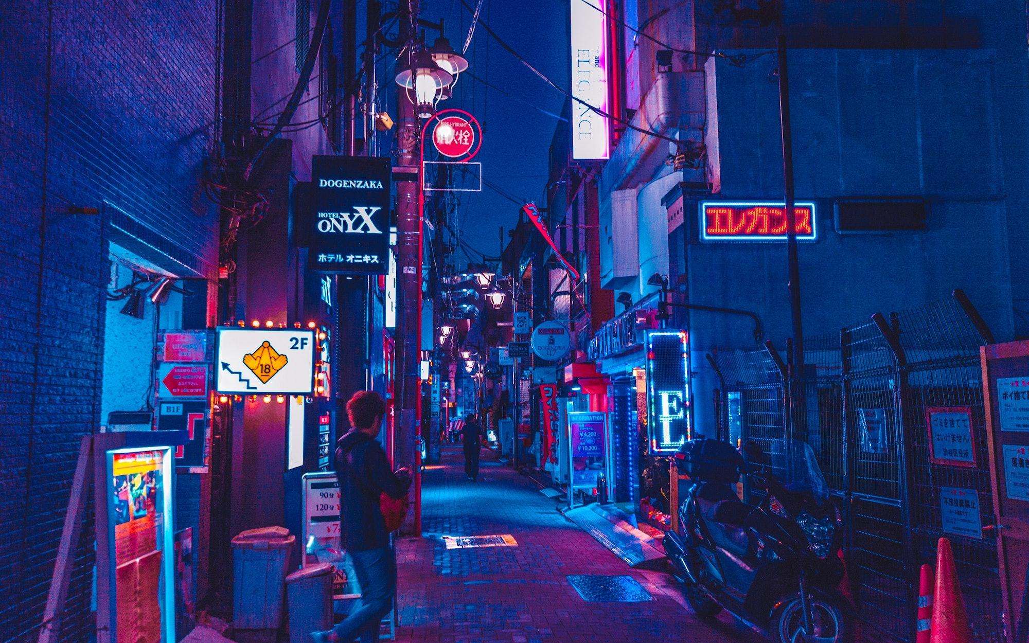 neon signs, lights, night