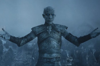 "The Night King raises his arms to Jon Snow in the Season 5 'Game of Thrones' episode ""Hardhome."""