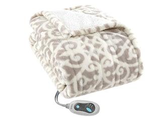 Beautyrest Ultra Soft Sherpa Berber Fleece Electric Poncho Wrap