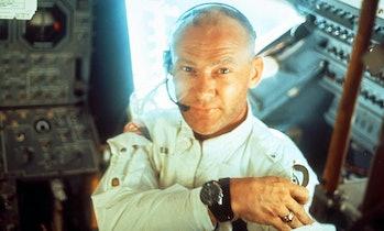 Buzz Aldrin in the lunar module.